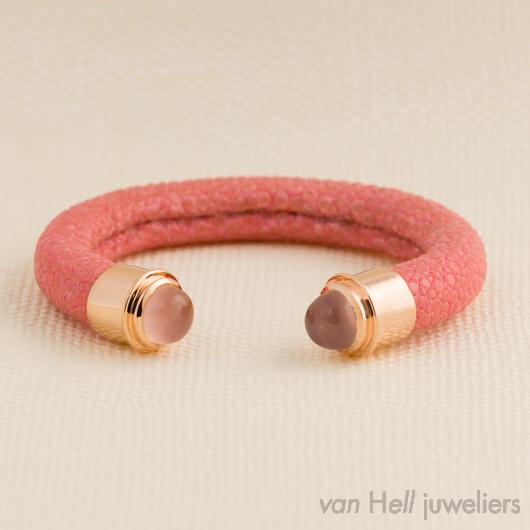 a cuckoo moment armband roggenleer met roze kwarts van. Black Bedroom Furniture Sets. Home Design Ideas